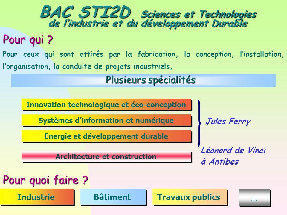 BAC STI2D Sciences et Technologies de l'industrie et du développement Durable Pour qui ? Pour ceux qui sont attirés par la fabrication, la conception,