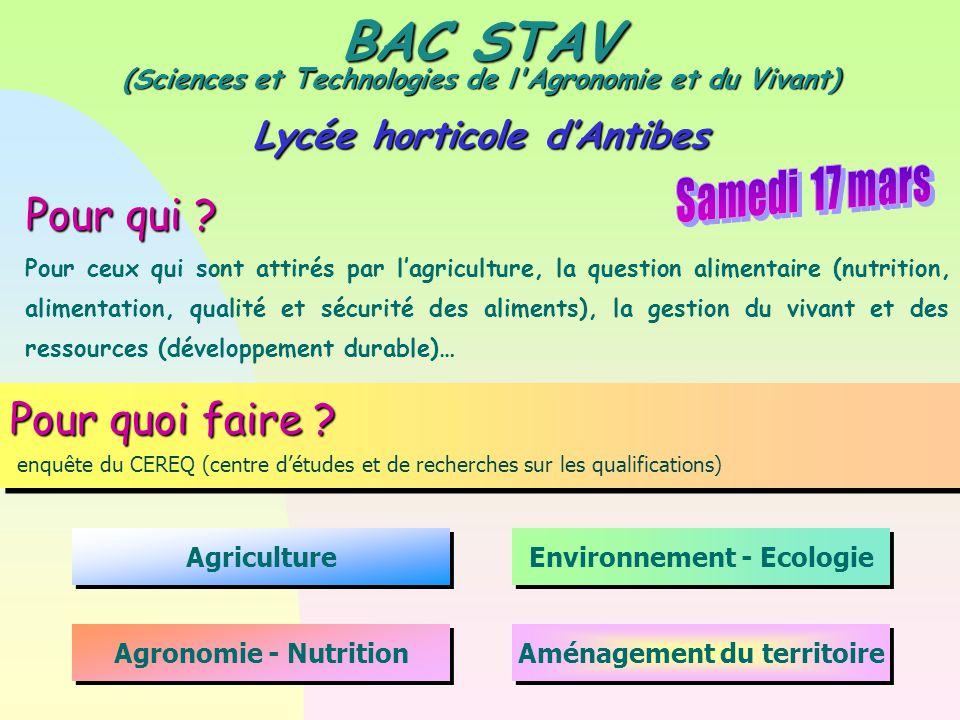BAC STAV (Sciences et Technologies de l'Agronomie et du Vivant)  Lycée horticole d'Antibes Pour qui ? Pour ceux qui sont attirés par l'agriculture, l