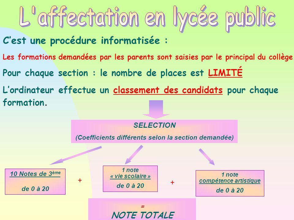 SELECTION (Coefficients différents selon la section demandée)  1 note « vie scolaire » de 0 à 20 = NOTE TOTALE + + 1 note compétence artistique de 0
