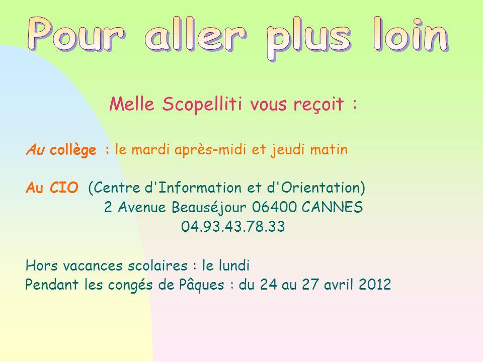 Melle Scopelliti vous reçoit : Au collège : le mardi après-midi et jeudi matin Au CIO (Centre d'Information et d'Orientation)  2 Avenue Beauséjour 06