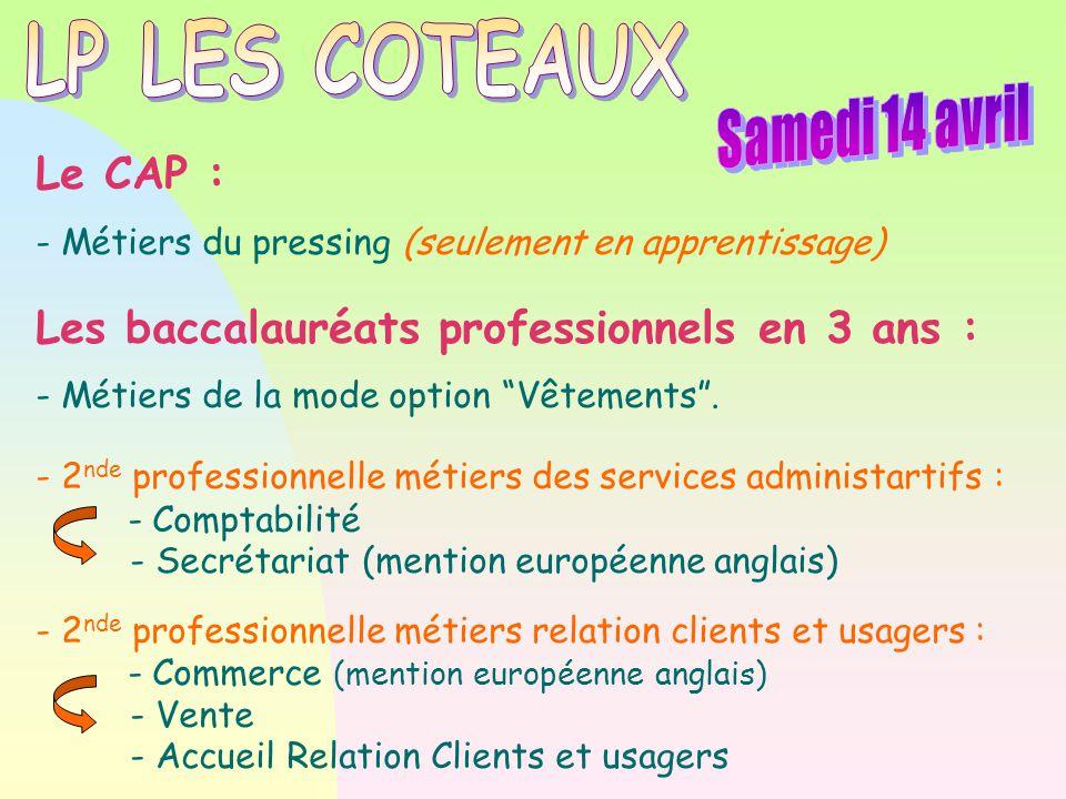 """Le CAP : - Métiers du pressing (seulement en apprentissage) Les baccalauréats professionnels en 3 ans : - Métiers de la mode option """"Vêtements"""". - 2 n"""