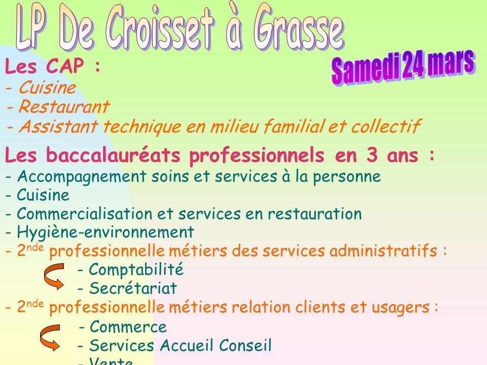 Les CAP : - Petite enfance Les baccalauréats professionnels en 3 ans : -Accompagnement soins et services à la personne - Commerce