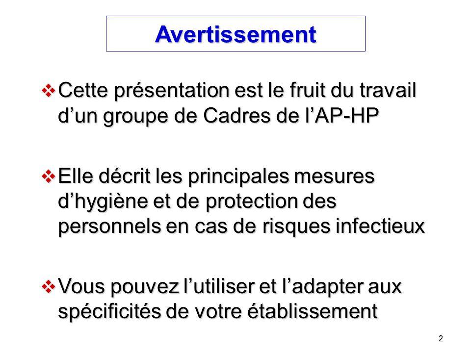 2 Avertissement  Cette présentation est le fruit du travail d'un groupe de Cadres de l'AP-HP  Elle décrit les principales mesures d'hygiène et de pr