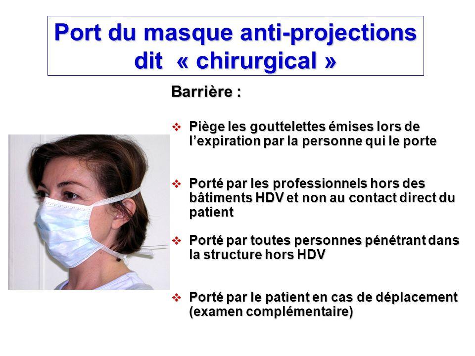 Port du masque respiratoire FFP2  Limitent l'inhalation d'aérosols de particules et gouttelettes en suspension dans l'air  Porté par les professionnels dans les bâtiments HDV au contact direct des patients ou les visiteurs (autorisation médicale préalable)  Doit être adhérent au visage (pas de fuite à l'inspiration), sinon possibilité d'inhalation de particules infectieuses