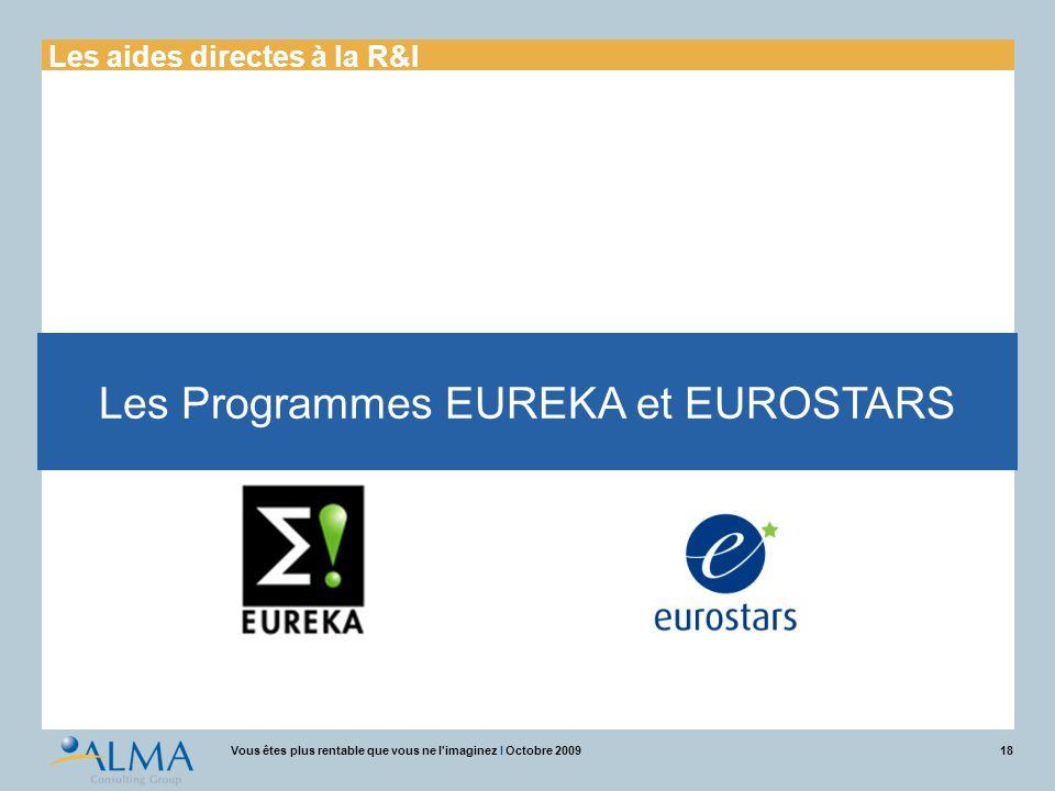 18Vous êtes plus rentable que vous ne l'imaginez I Octobre 2009 Les Programmes EUREKA et EUROSTARS Les aides directes à la R&I