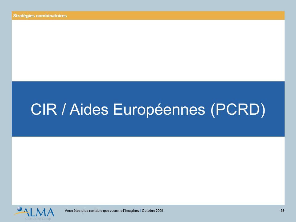 38Vous êtes plus rentable que vous ne l'imaginez I Octobre 2009 Stratégies combinatoires CIR / Aides Européennes (PCRD)
