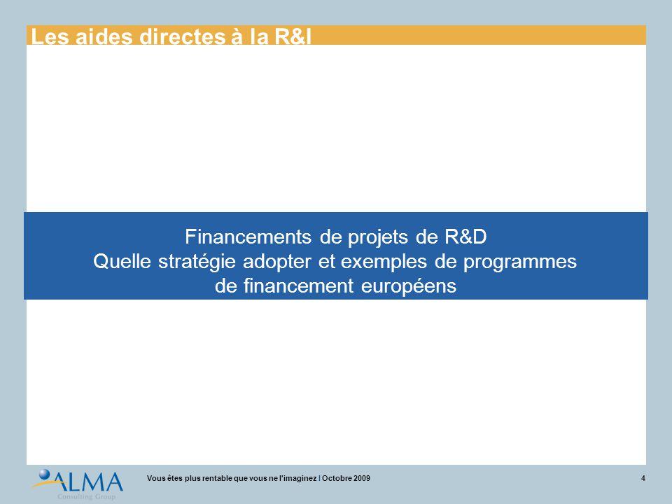 4Vous êtes plus rentable que vous ne l'imaginez I Octobre 2009 Financements de projets de R&D Quelle stratégie adopter et exemples de programmes de fi