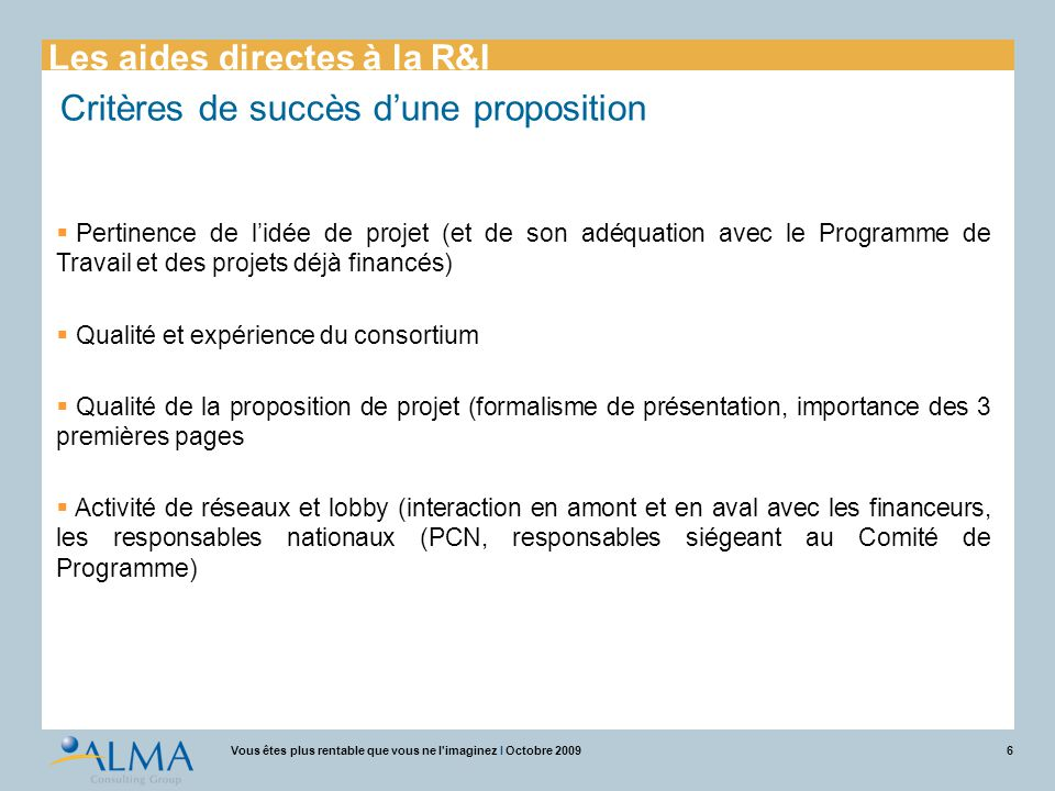 Alma Consulting Group Couplage aides directes / aides indirectes Pierre AUMONT