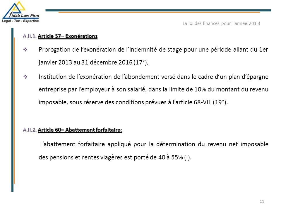 A.II.1. Article 57– Exonérations  Prorogation de l'exonération de l'indemnité de stage pour une période allant du 1er janvier 2013 au 31 décembre 201