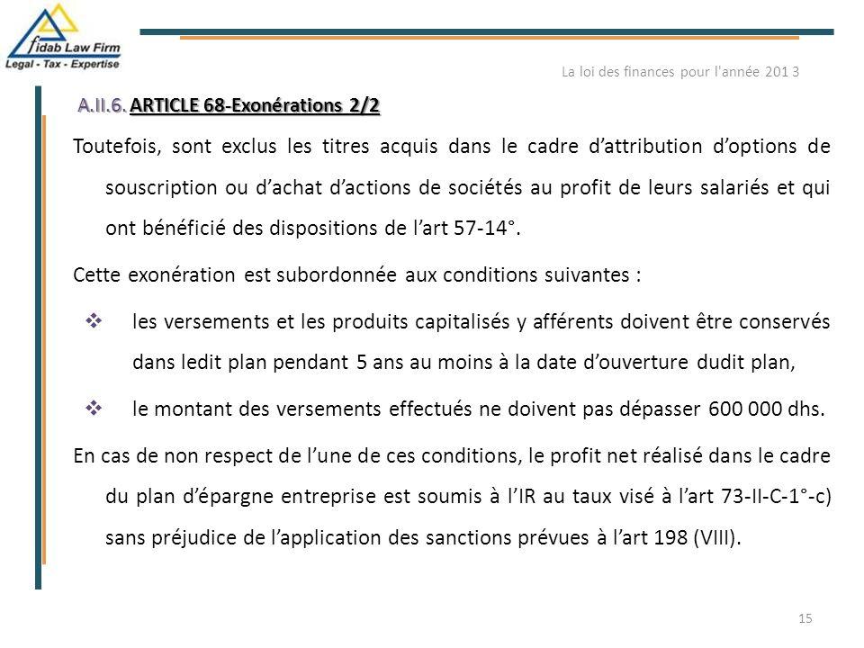 A.II.6. ARTICLE 68-Exonérations 2/2 Toutefois, sont exclus les titres acquis dans le cadre d'attribution d'options de souscription ou d'achat d'action