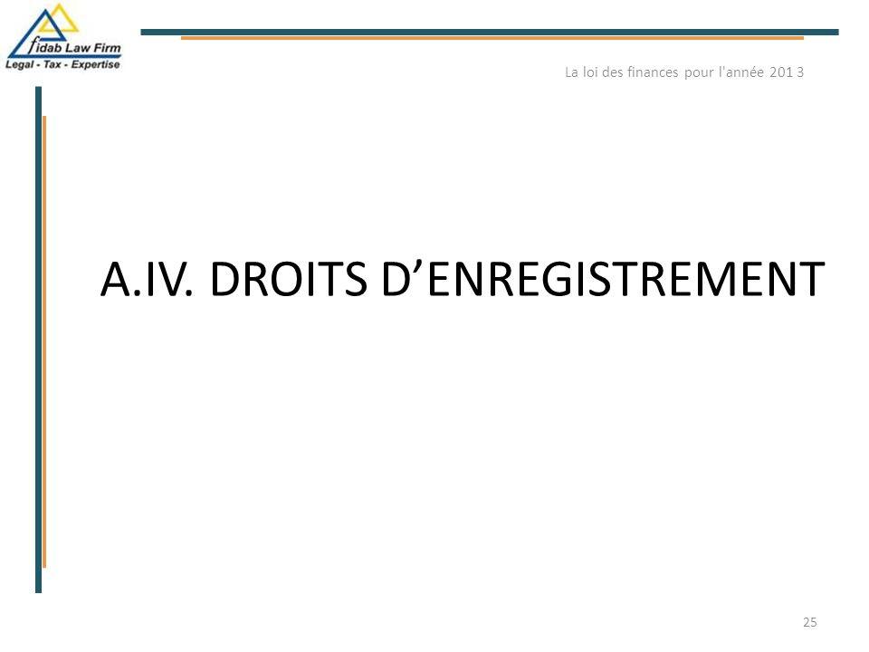 A.IV. DROITS D'ENREGISTREMENT La loi des finances pour l'année 201 3 25