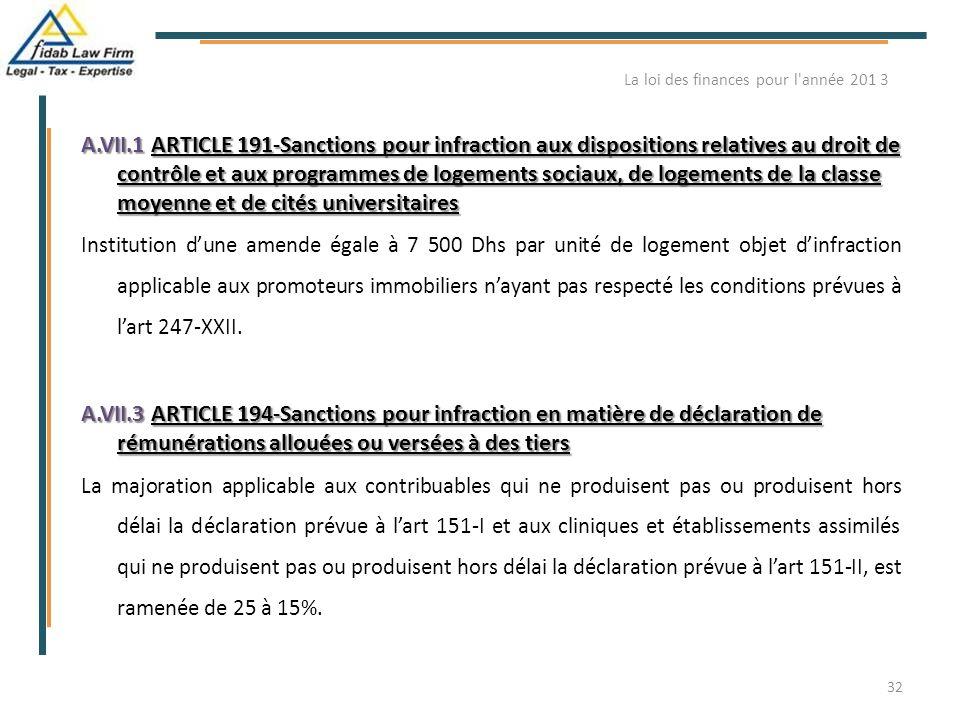 A.VII.1 ARTICLE 191-Sanctions pour infraction aux dispositions relatives au droit de contrôle et aux programmes de logements sociaux, de logements de
