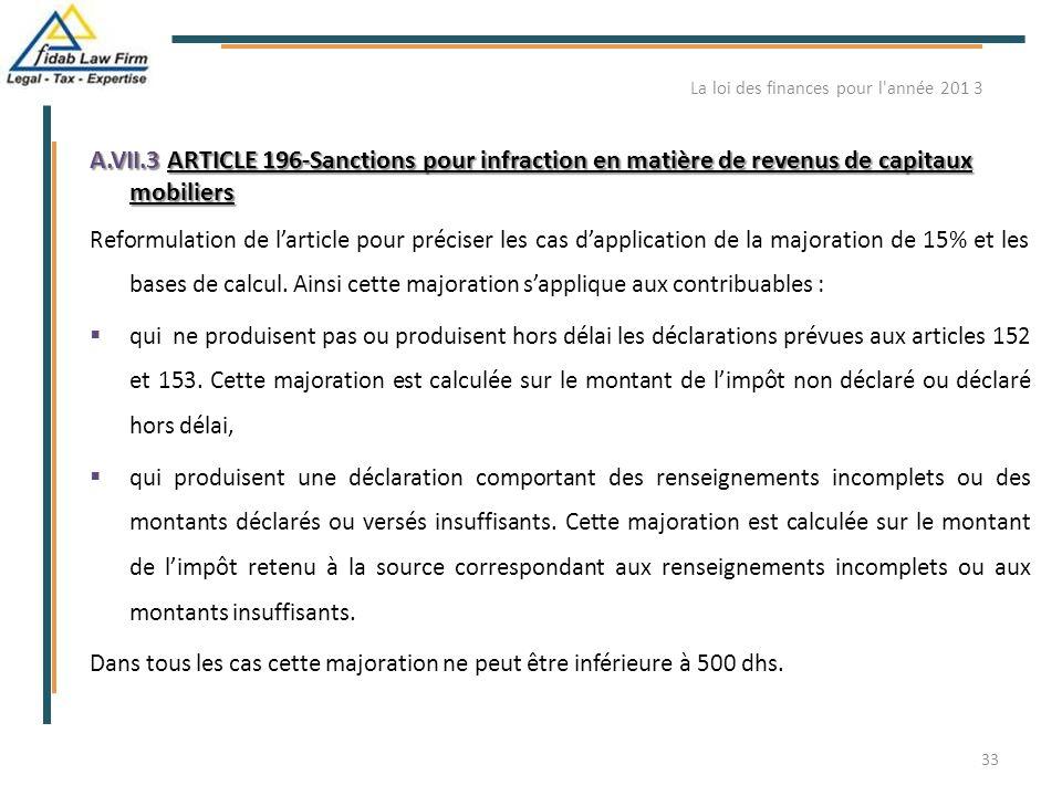 A.VII.3 ARTICLE 196-Sanctions pour infraction en matière de revenus de capitaux mobiliers Reformulation de l'article pour préciser les cas d'applicati