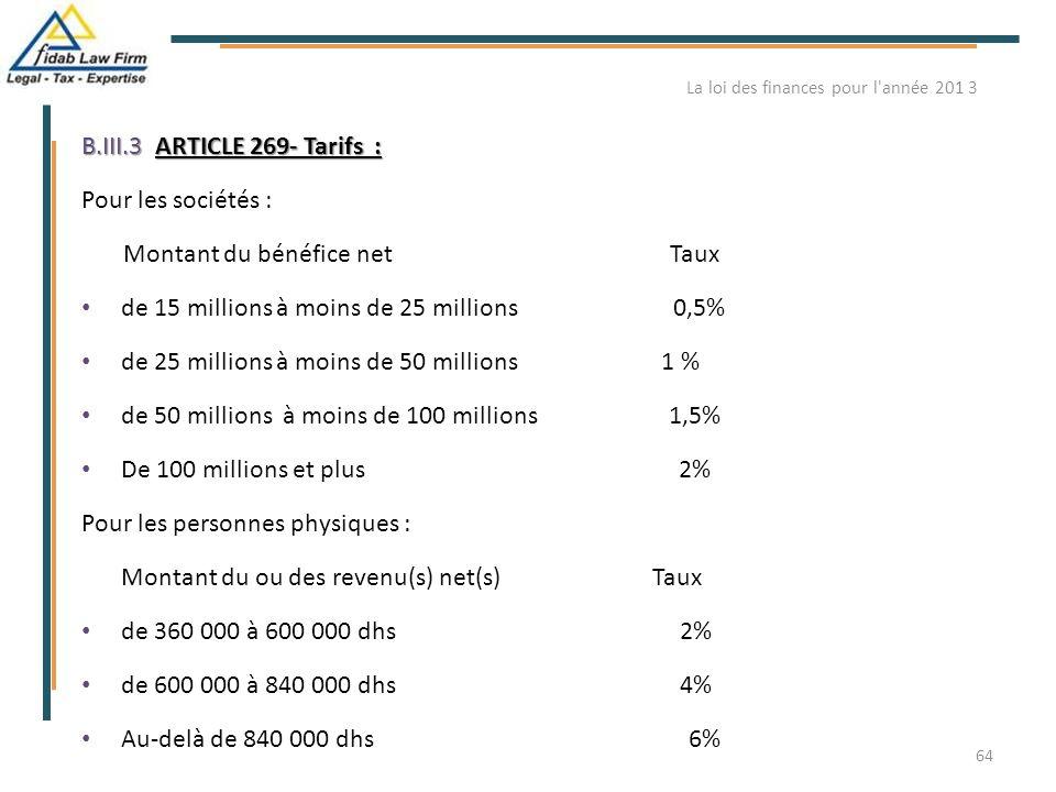 B.III.3ARTICLE 269- Tarifs : B.III.3. ARTICLE 269- Tarifs : Pour les sociétés : Montant du bénéfice net Taux de 15 millions à moins de 25 millions 0,5