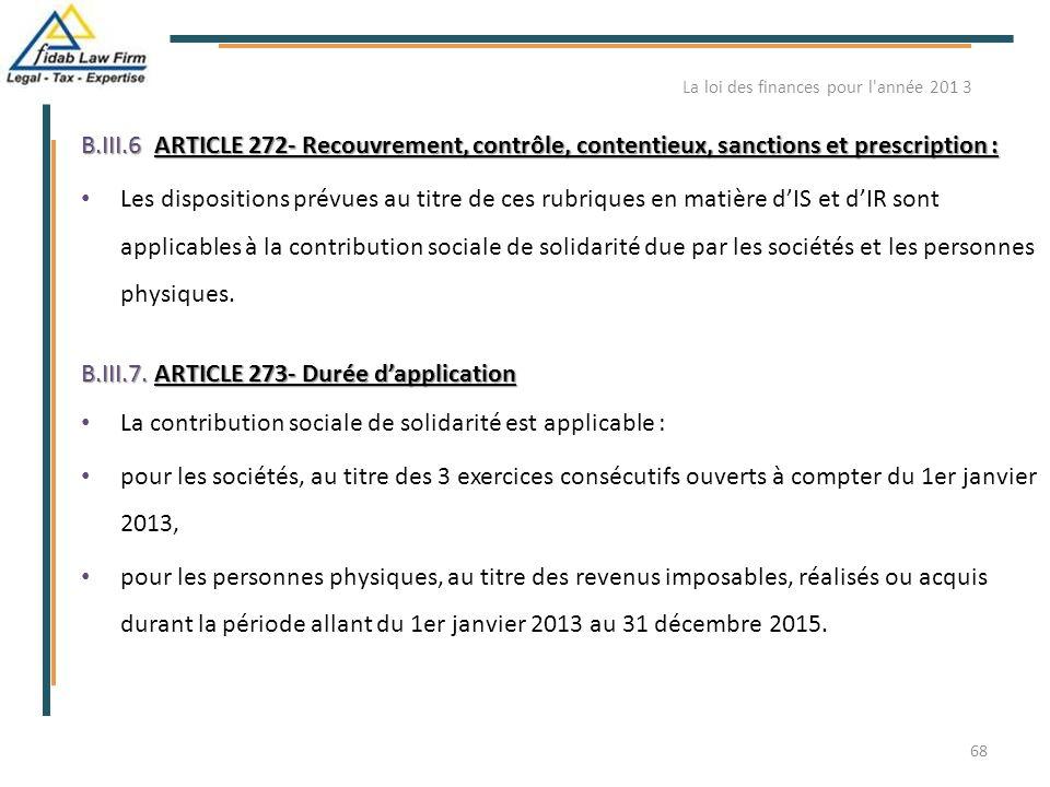 B.III.6ARTICLE 272- Recouvrement, contrôle, contentieux, sanctions et prescription : B.III.6. ARTICLE 272- Recouvrement, contrôle, contentieux, sancti