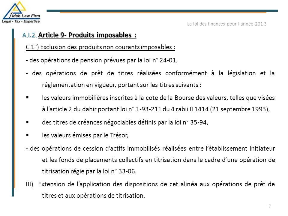 A.I.2. Article 9- Produits imposables : C 1°) Exclusion des produits non courants imposables : - des opérations de pension prévues par la loi n° 24-01