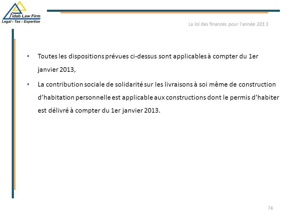 Toutes les dispositions prévues ci-dessus sont applicables à compter du 1er janvier 2013, La contribution sociale de solidarité sur les livraisons à s