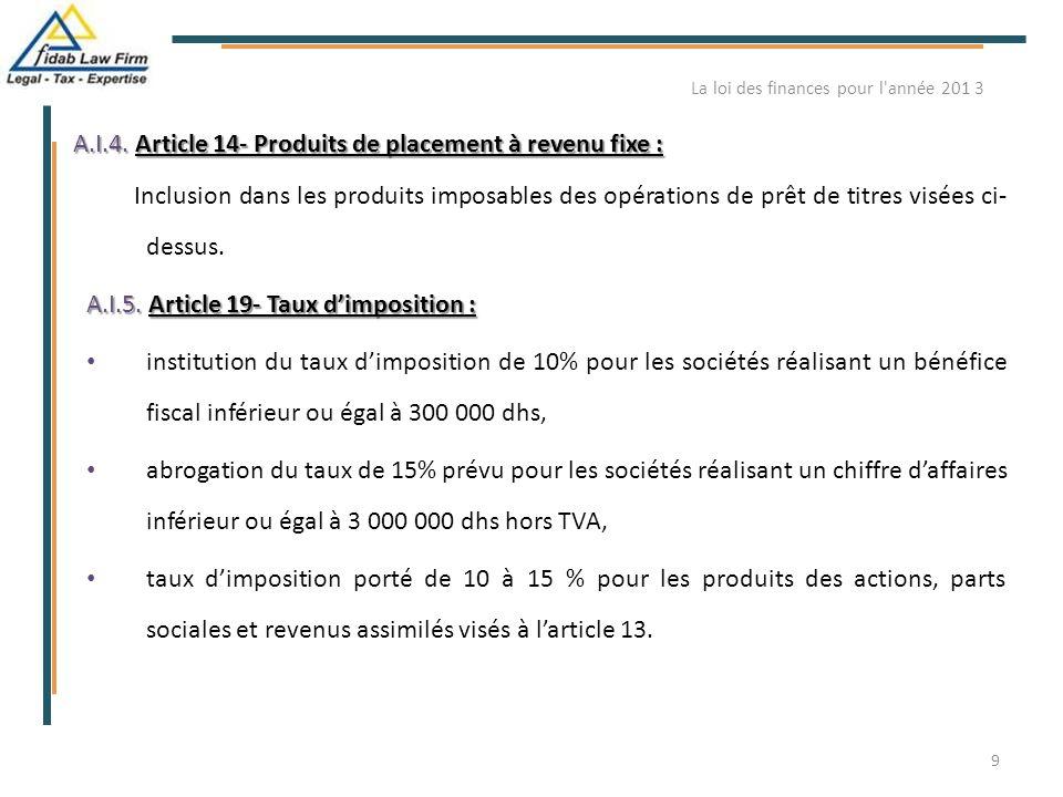 A.I.4. Article 14- Produits de placement à revenu fixe : Inclusion dans les produits imposables des opérations de prêt de titres visées ci- dessus. A.
