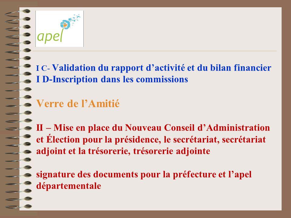 I C- Validation du rapport d'activité et du bilan financier I D-Inscription dans les commissions Verre de l'Amitié II – Mise en place du Nouveau Conse