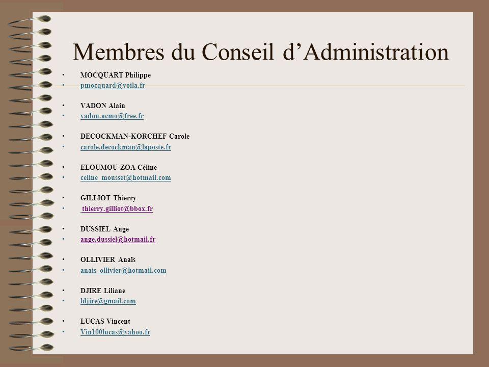 Membres du Conseil d'Administration MOCQUART Philippe pmocquard@voila.fr VADON Alain vadon.acmo@free.fr DECOCKMAN-KORCHEF Carole carole.decockman@lapo