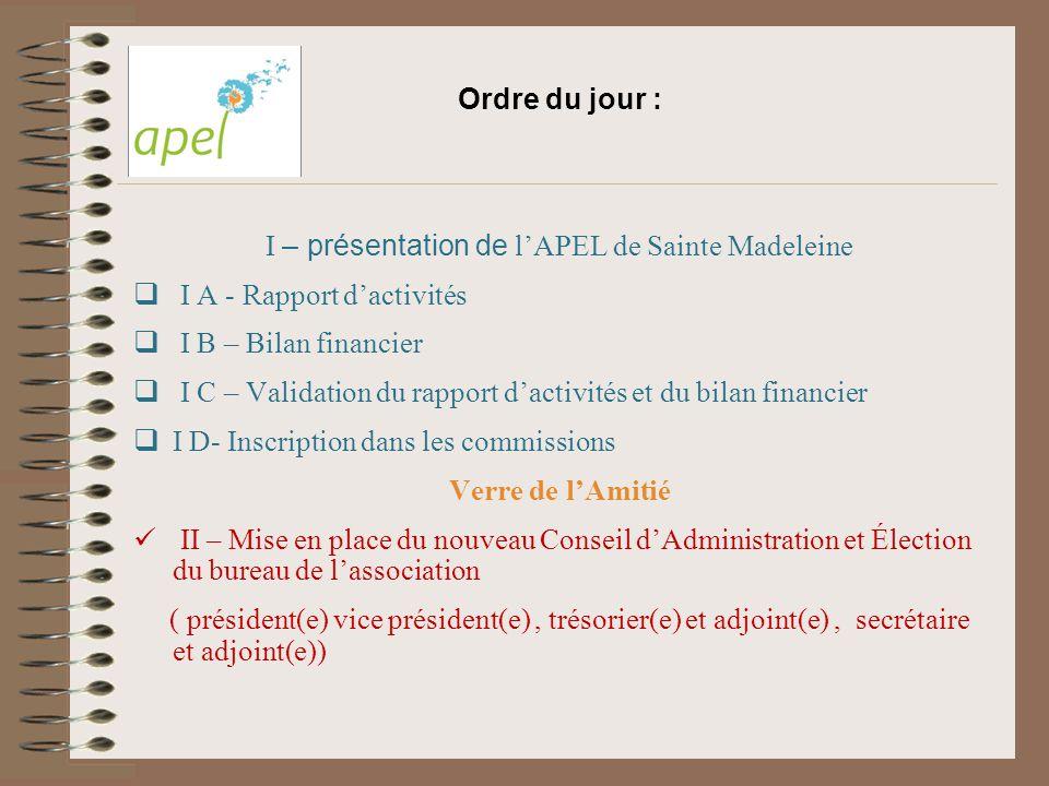 Ordre du jour : I – présentation de l'APEL de Sainte Madeleine  I A - Rapport d'activités  I B – Bilan financier  I C – Validation du rapport d'act
