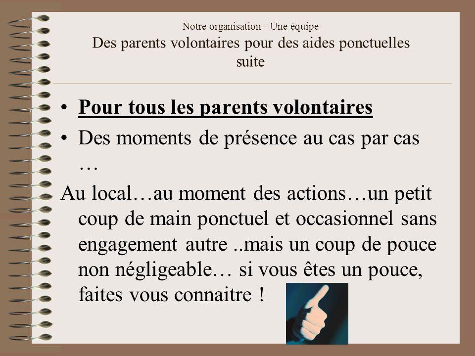 Notre organisation= Une équipe Des parents volontaires pour des aides ponctuelles suite Pour tous les parents volontaires Des moments de présence au c
