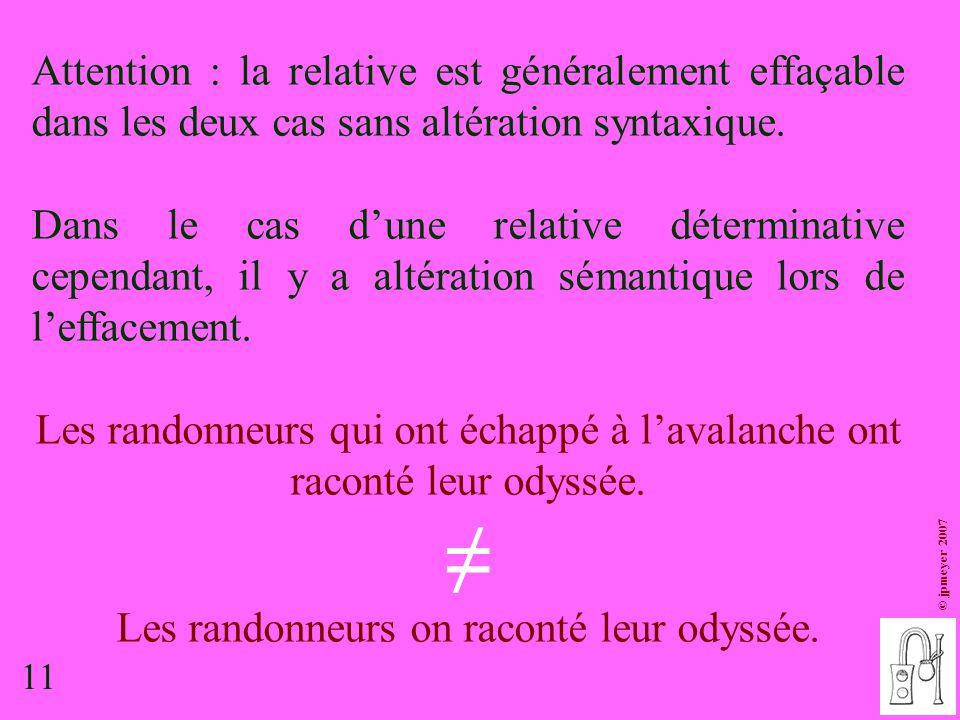 11 © jpmeyer 2007 Attention : la relative est généralement effaçable dans les deux cas sans altération syntaxique. Dans le cas d'une relative détermin