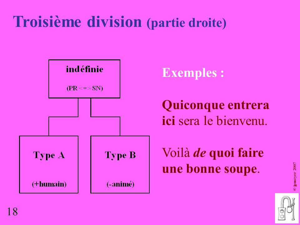 18 © jpmeyer 2007 Troisième division (partie droite) Exemples : Quiconque entrera ici sera le bienvenu. Voilà de quoi faire une bonne soupe. 18