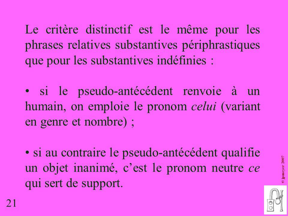 21 © jpmeyer 2007 Le critère distinctif est le même pour les phrases relatives substantives périphrastiques que pour les substantives indéfinies : si