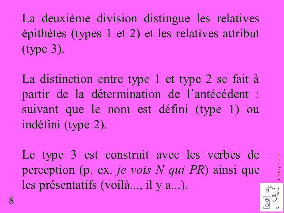 8 © jpmeyer 2007 La deuxième division distingue les relatives épithètes (types 1 et 2) et les relatives attribut (type 3). La distinction entre type 1
