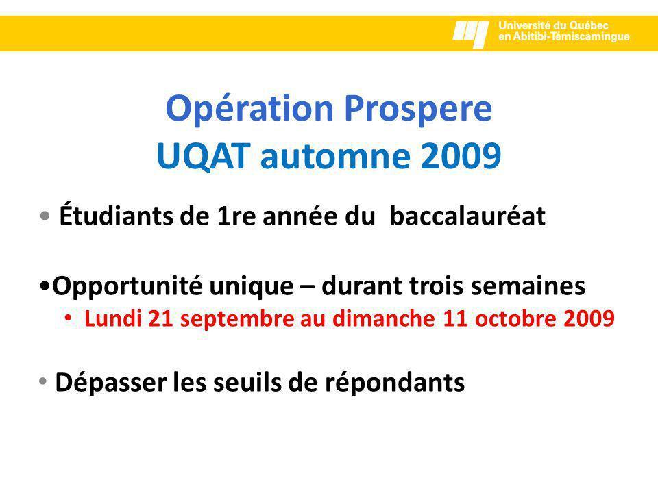 Opération Prospere UQAT automne 2009 Étudiants de 1re année du baccalauréat Opportunité unique – durant trois semaines Lundi 21 septembre au dimanche 11 octobre 2009 Dépasser les seuils de répondants