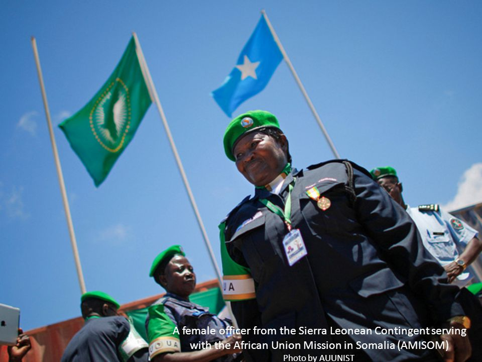 A female officer from the Sierra Leonean Contingent serving with the African Union Mission in Somalia (AMISOM) Photo by AUUNIST.