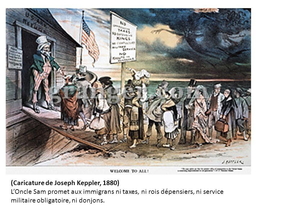 (Caricature de Joseph Keppler, 1880) L'Oncle Sam promet aux immigrans ni taxes, ni rois dépensiers, ni service militaire obligatoire, ni donjons.