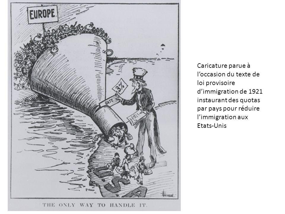 Caricature parue à l'occasion du texte de loi provisoire d'immigration de 1921 instaurant des quotas par pays pour réduire l'immigration aux Etats-Uni