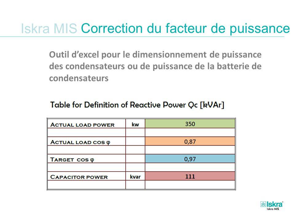 Iskra MIS Outil d'excel pour le dimensionnement de puissance des condensateurs ou de puissance de la batterie de condensateurs Correction du facteur de puissance