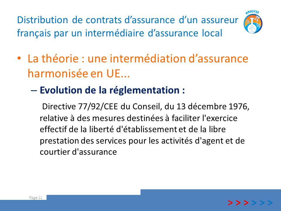 Distribution de contrats d'assurance d'un assureur français par un intermédiaire d'assurance local La théorie : une intermédiation d'assurance harmoni