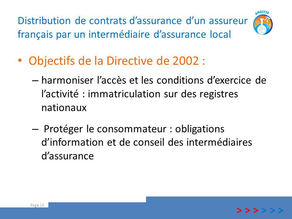 Distribution de contrats d'assurance d'un assureur français par un intermédiaire d'assurance local Objectifs de la Directive de 2002 : – harmoniser l'
