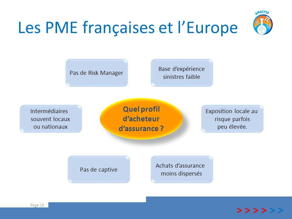 Les PME françaises et l'Europe Page 19 Base d'expérience sinistres faible Achats d'assurance moins dispersés Quel profil d'acheteur d'assurance ? Quel