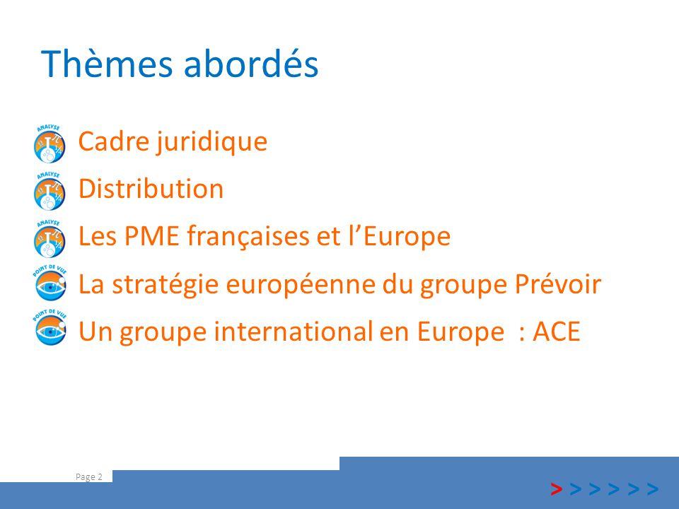 Thèmes abordés Cadre juridique Distribution Les PME françaises et l'Europe La stratégie européenne du groupe Prévoir Un groupe international en Europe