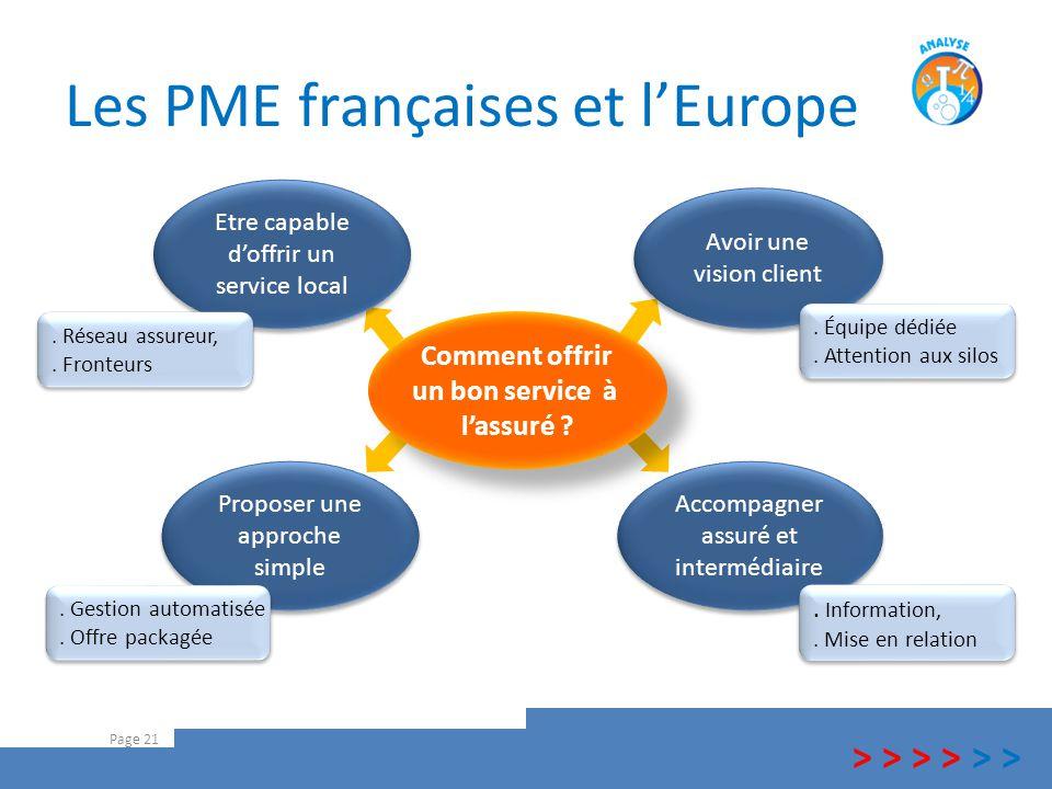 Les PME françaises et l'Europe Page 21 > > > Comment offrir un bon service à l'assuré ? Comment offrir un bon service à l'assuré ? Etre capable d'offr