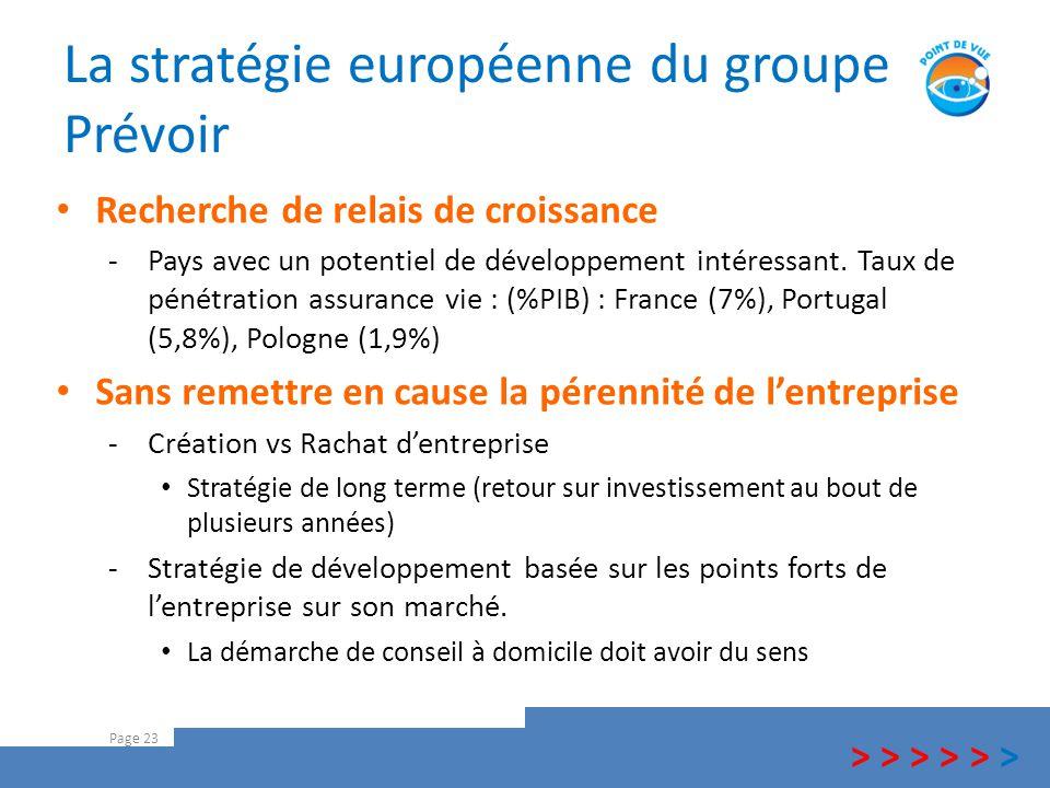 La stratégie européenne du groupe Prévoir Page 23 Recherche de relais de croissance -Pays avec un potentiel de développement intéressant. Taux de péné