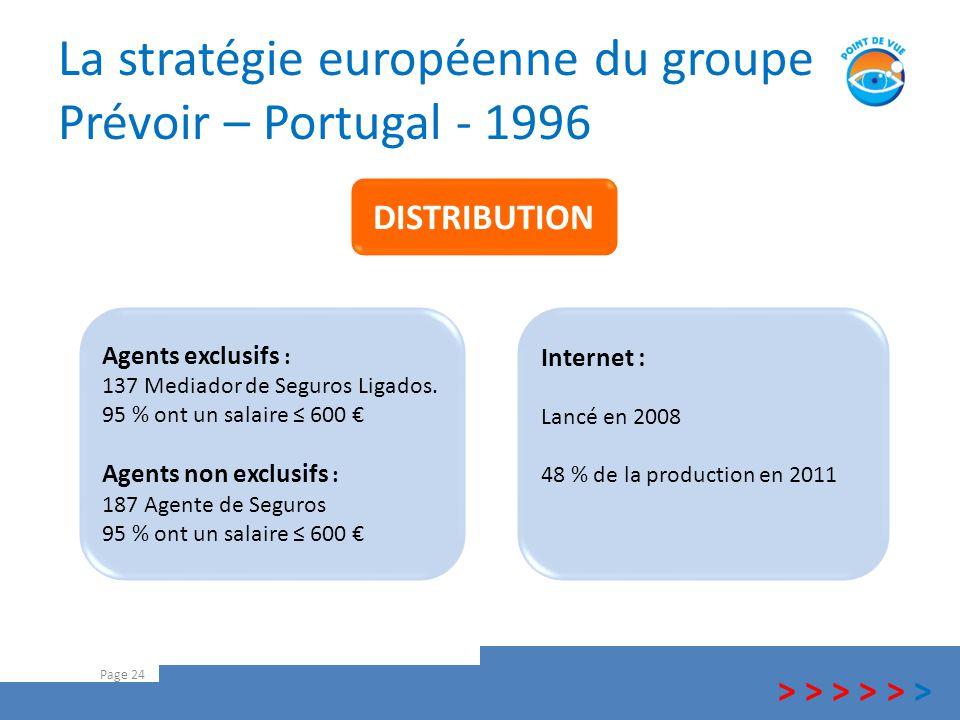 La stratégie européenne du groupe Prévoir – Portugal - 1996 Page 24 > > > Internet : Lancé en 2008 48 % de la production en 2011 Agents exclusifs : 13