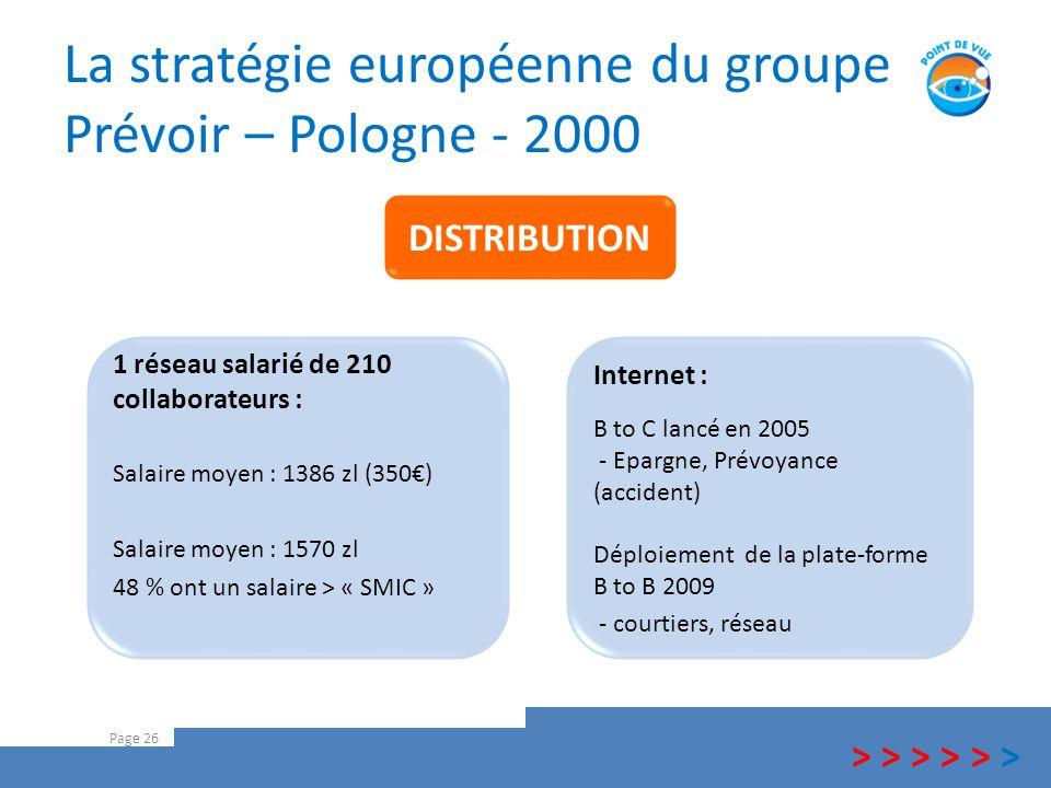 La stratégie européenne du groupe Prévoir – Pologne - 2000 Page 26 > > > Internet : B to C lancé en 2005 - Epargne, Prévoyance (accident) Déploiement
