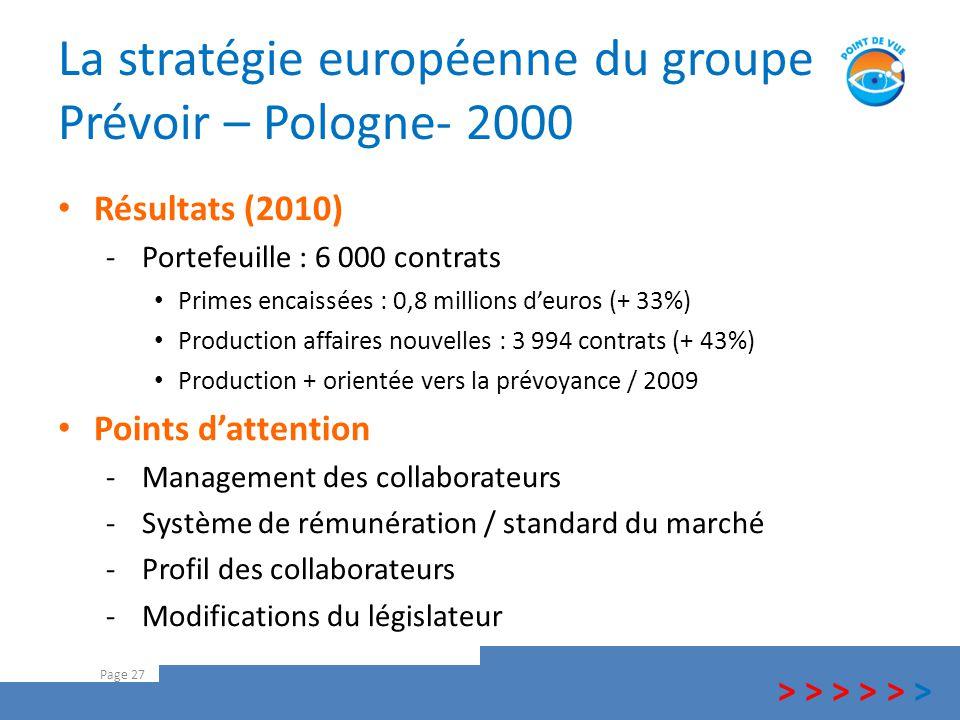 La stratégie européenne du groupe Prévoir – Pologne- 2000 Page 27 Résultats (2010) -Portefeuille : 6 000 contrats Primes encaissées : 0,8 millions d'e