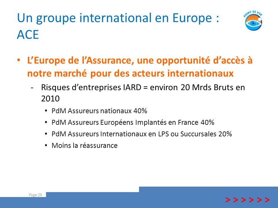 Un groupe international en Europe : ACE Page 29 > > > L'Europe de l'Assurance, une opportunité d'accès à notre marché pour des acteurs internationaux