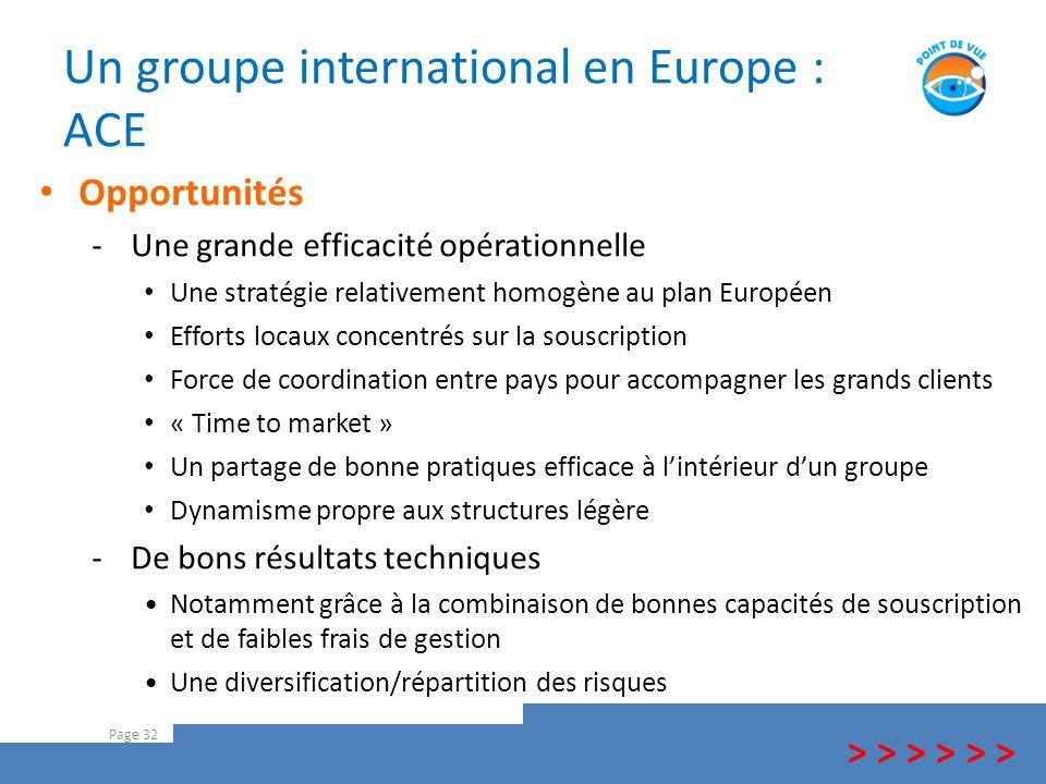 Un groupe international en Europe : ACE Page 32 > > > Opportunités -Une grande efficacité opérationnelle Une stratégie relativement homogène au plan E