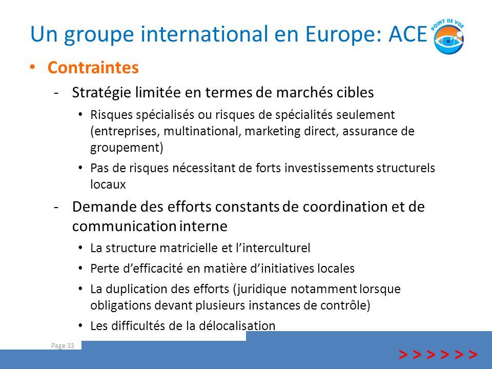 Un groupe international en Europe: ACE Page 33 > > > Contraintes -Stratégie limitée en termes de marchés cibles Risques spécialisés ou risques de spéc