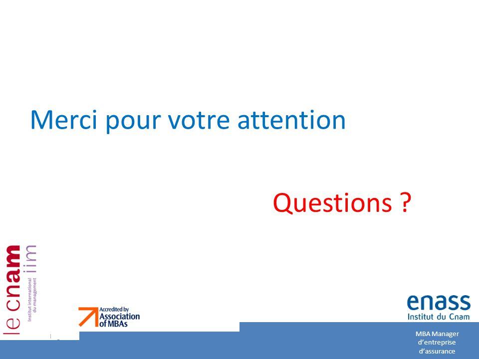 Merci pour votre attention Questions ? MBA Manager d'entreprise d'assurance Page 34