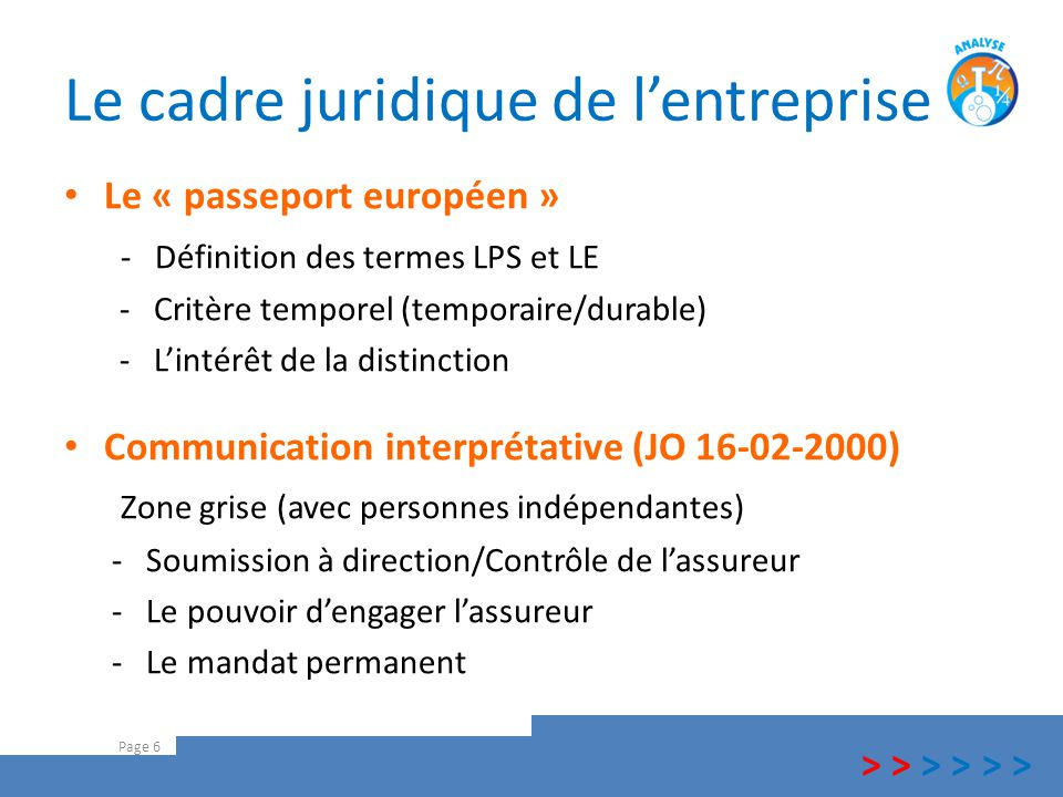 Le cadre juridique de l'entreprise Le « passeport européen » - Définition des termes LPS et LE - Critère temporel (temporaire/durable) - L'intérêt de