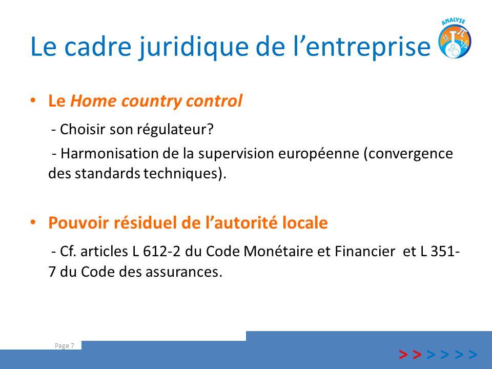 Le cadre juridique de l'entreprise Le Home country control - Choisir son régulateur? - Harmonisation de la supervision européenne (convergence des sta